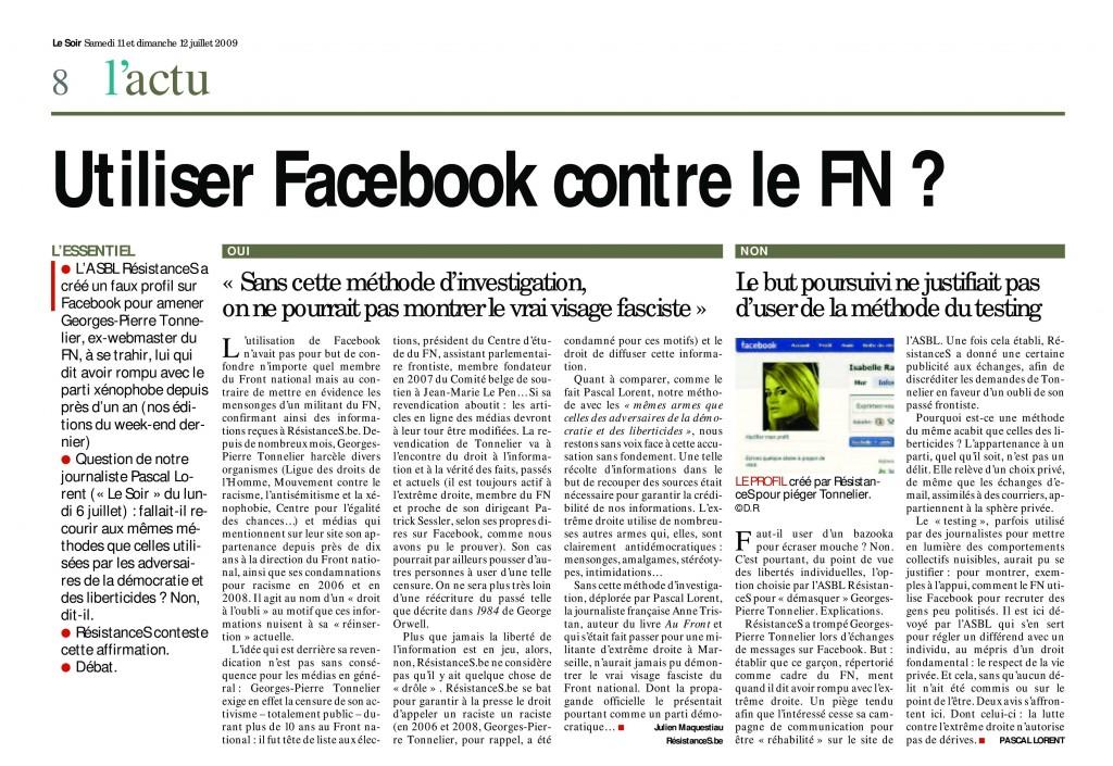 """Le """"face-à-face"""" entre le militant Julien Maquestiau et le journaliste Pascal Lorent (2009)."""