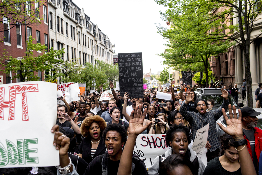 April 29th, 2015. Baltimore, Maryland. Thousands peacefully marched from Pennsylvania Station to City Hall and back on Wednesday afternoon. Protests have rocked the city of Baltimore after the death of 25 year old resident Freddie Gray while in police custody due to a spinal injury. While the majority of protests have been completely peaceful, a few riots have broken out which police and national guard have responded to with arrests and dispersals of tear gas.